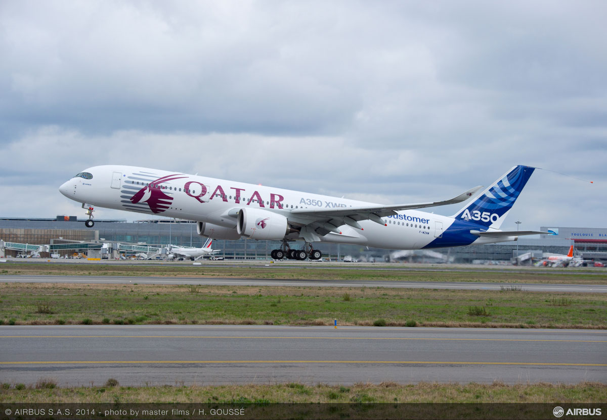 F-WZNW Airbus A350-900 (MSN 4) owned by Airbus, in Qatar Airways hybrid livery, on its first flight at Toulouse - 26 February 2014