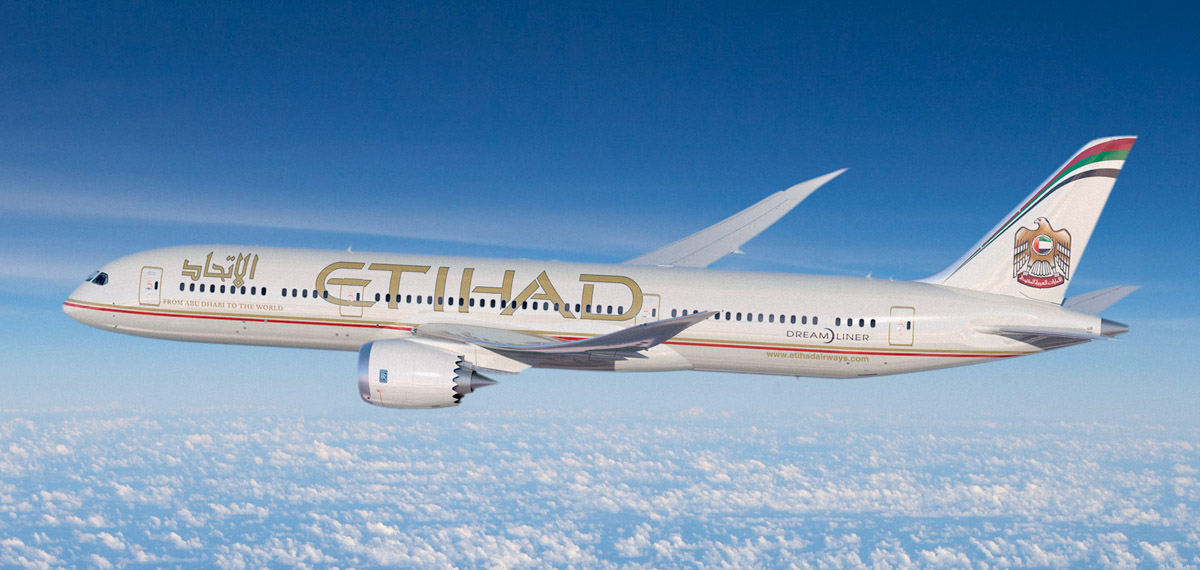 Artist's impression of Boeing 787-9 Dreamliner in Etihad livery