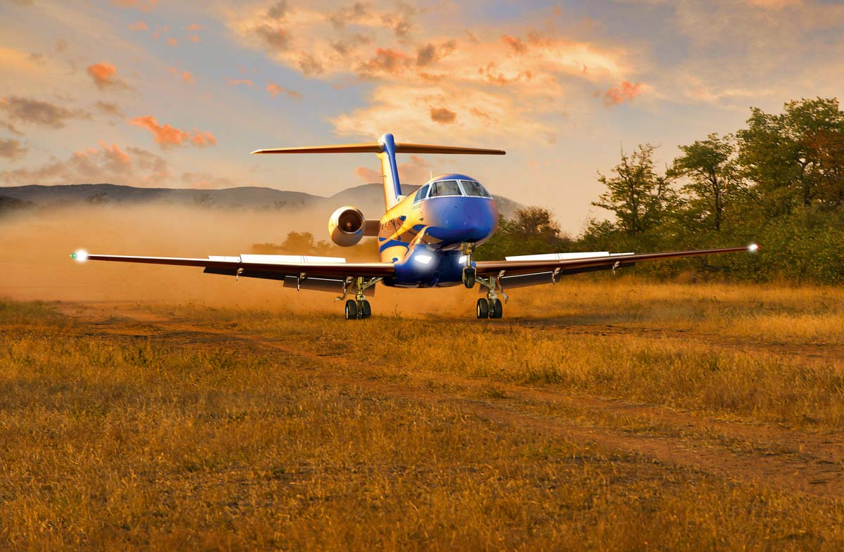 Pilatus PC-24 landing on an unpaved airstrip. Artist's impression copyright © 2014 Pilatus Aircraft