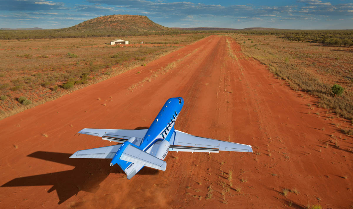 Pilatus PC-24 taking off from an unpaved airstrip at an Australian cattle station. Artist's impression copyright © 2014 Pilatus Aircraft
