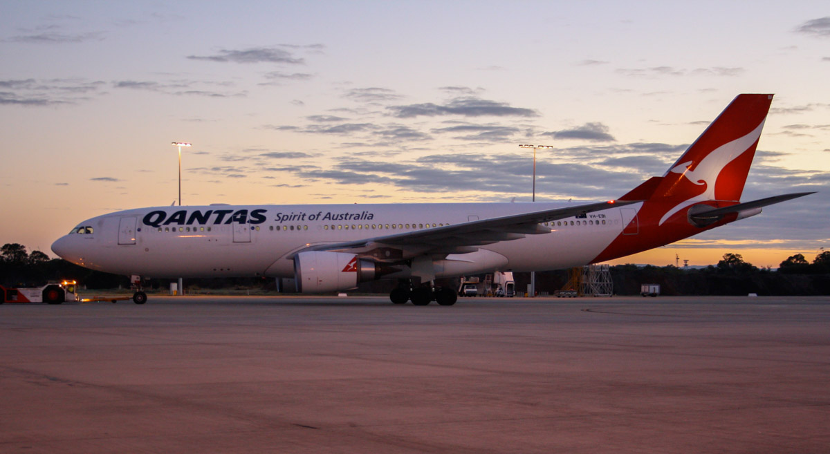 "VH-EBI Airbus A330-203 (MSN 898) Qantas, named ""Yarra Valley"", at Perth Airport – Sun 11 May 2014. Photo © Wilson"