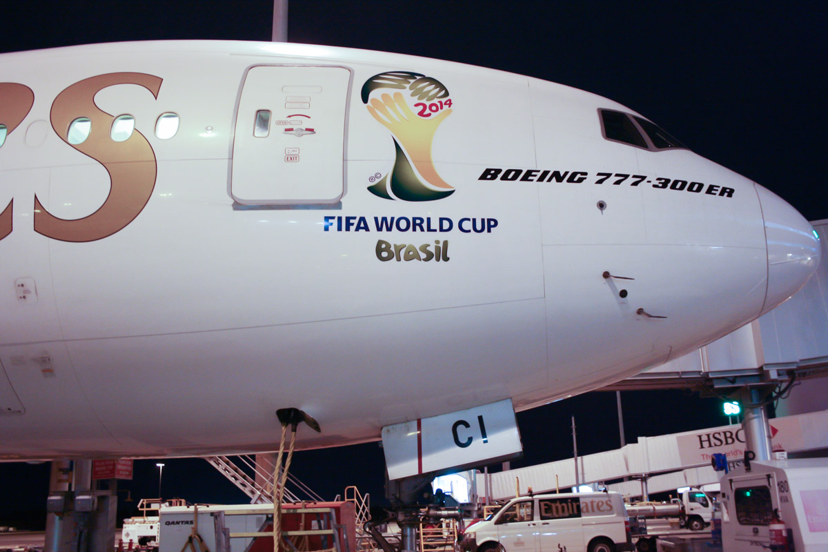 A6-ECI Boeing 777-31H ER (MSN 35580/728) of Emirates, with '2014 FIFA WORLD CUP Brasil' logo at Perth Airport – 19 May 2014. Photo © Wilson