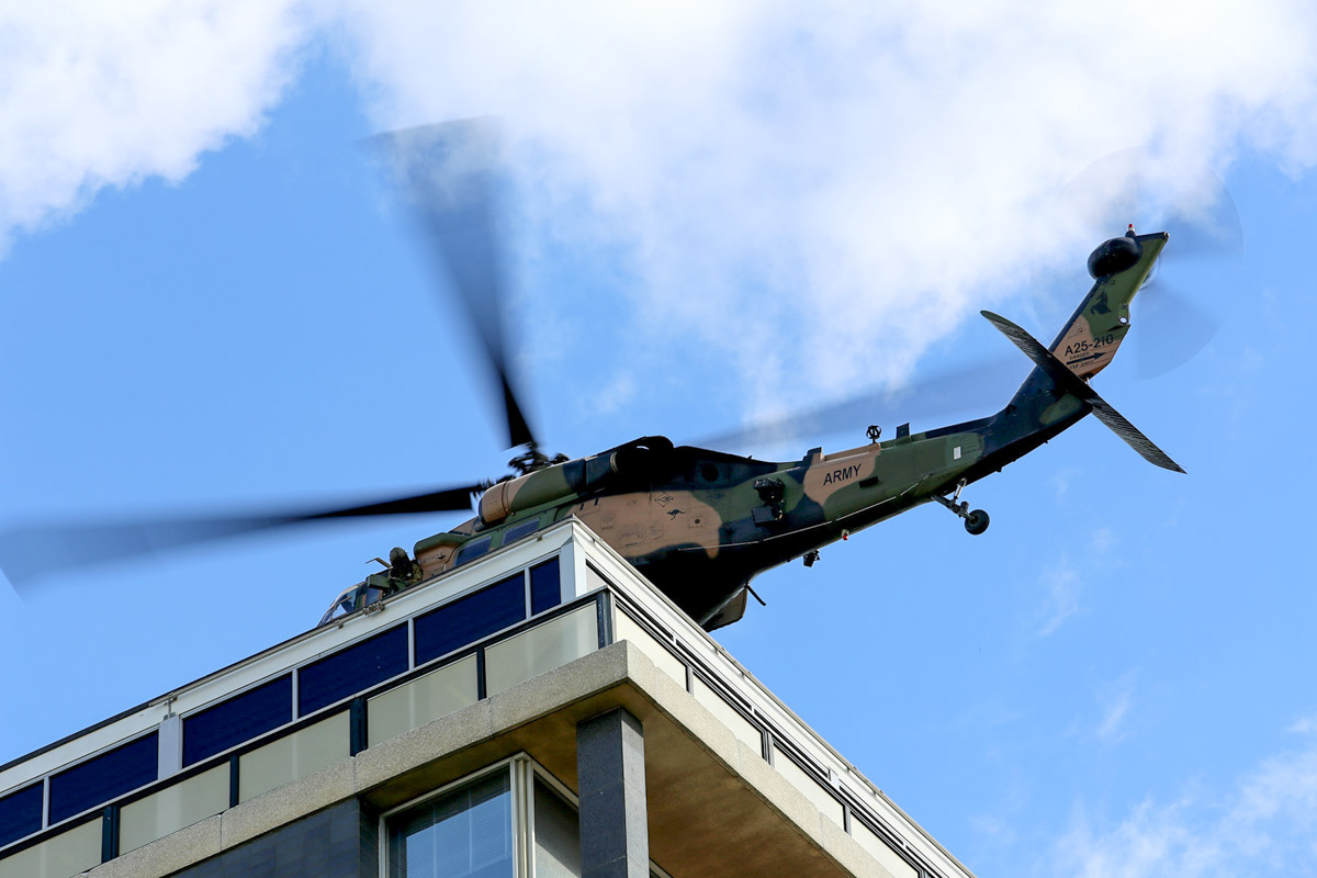 A25-210 Sikorsky S-70A-9 Blackhawk (MSN 70-1348) named 'Dragoon', of 171st Aviation Squadron, 6th Aviation Regiment, Australian Army, over Dumas House, West Perth at 2:27pm on Thu 29 May 2014. Photo © Matt Hayes