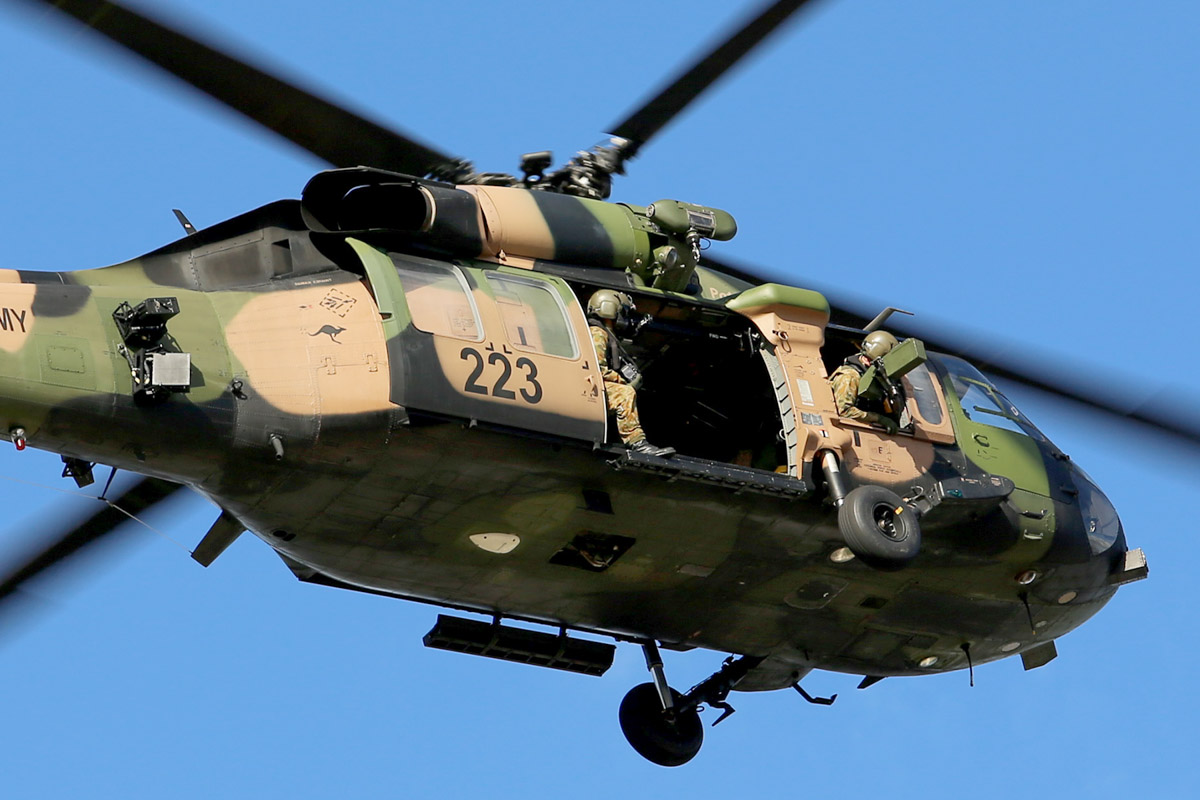 A25-223 Sikorsky S-70A-9 Blackhawk (MSN 70-1432) named 'Patriot', of 171st Aviation Squadron, 6th Aviation Regiment, Australian Army, over Dumas House, West Perth at 2:31pm on Thu 29 May 2014. Photo © Matt Hayes