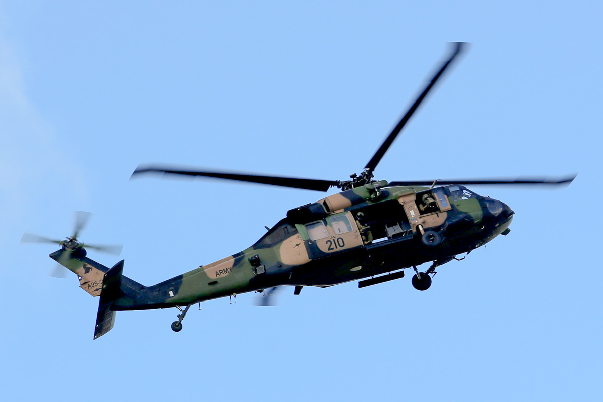 A25-210 Sikorsky S-70A-9 Blackhawk (MSN 70-1348) named 'Dragoon', of 171st Aviation Squadron, 6th Aviation Regiment, Australian Army, over Dumas House, West Perth at 2:41pm on Thu 29 May 2014. Photo © Matt Hayes