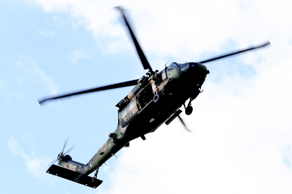 A25-223 Sikorsky S-70A-9 Blackhawk (MSN 70-1432) named 'Patriot', of 171st Aviation Squadron, 6th Aviation Regiment, Australian Army, over Dumas House, West Perth at 2:41pm on Thu 29 May 2014. Photo © Matt Hayes