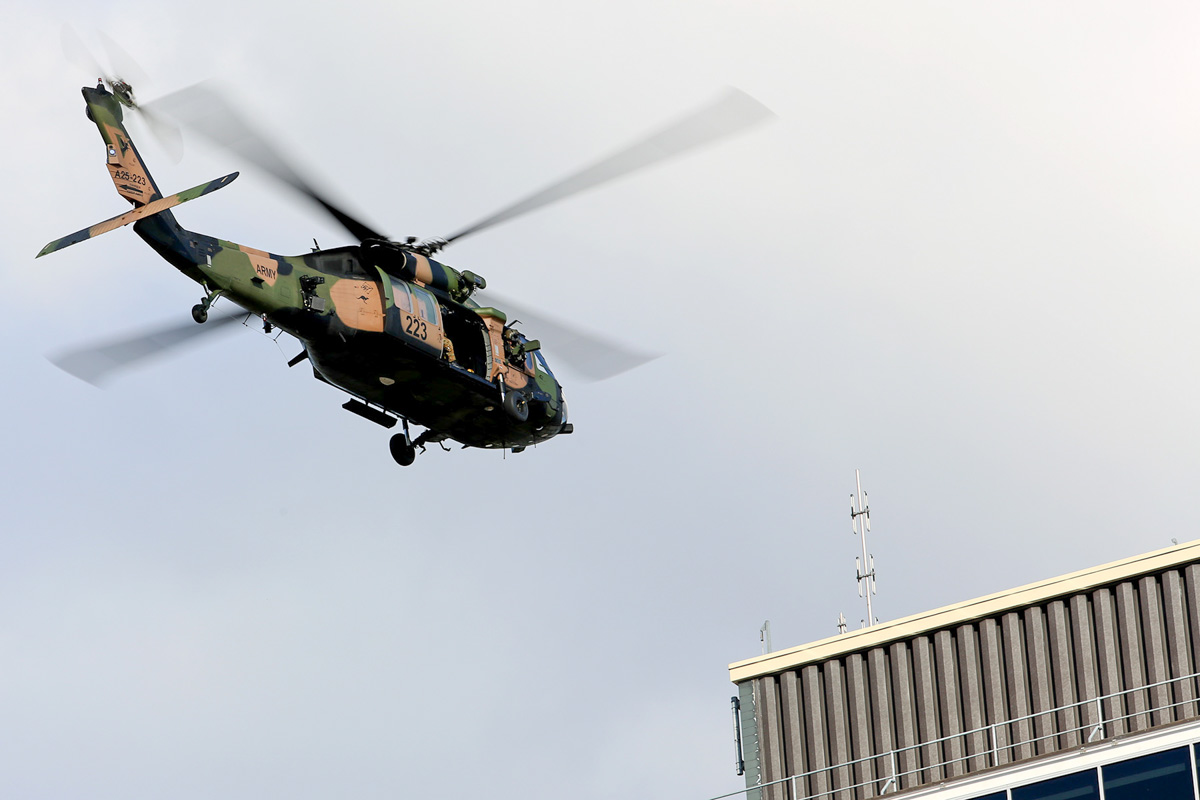 A25-223 Sikorsky S-70A-9 Blackhawk (MSN 70-1432) named 'Patriot', of 171st Aviation Squadron, 6th Aviation Regiment, Australian Army, over Dumas House, West Perth at 2:42pm on Thu 29 May 2014. Photo © Matt Hayes