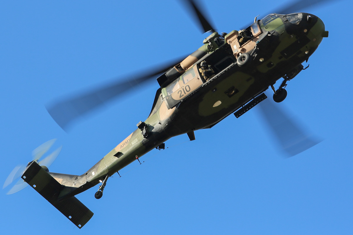 A25-210 Sikorsky S-70A-9 Blackhawk (MSN 70-1348) named 'Dragoon', of 171st Aviation Squadron, 6th Aviation Regiment, Australian Army, over Dumas House, West Perth at 2:48pm on Thu 29 May 2014. Photo © Matt Hayes