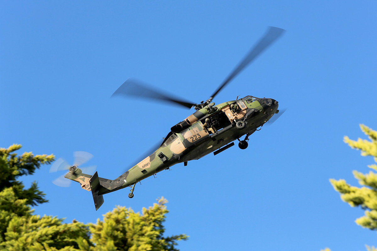 A25-223 Sikorsky S-70A-9 Blackhawk (MSN 70-1432) named 'Patriot', of 171st Aviation Squadron, 6th Aviation Regiment, Australian Army, over Dumas House, West Perth at 2:56pm on Thu 29 May 2014. Photo © Matt Hayes