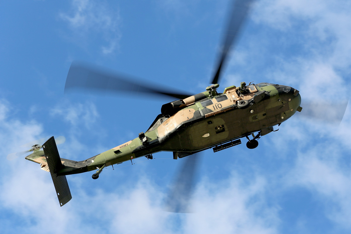 A25-110 Sikorsky S-70A-9 Blackhawk (MSN 70-1146) named 'Apocalypse', of 171st Aviation Squadron, 6th Aviation Regiment, Australian Army, over Dumas House, West Perth at 2:56pm on Thu 29 May 2014. Photo © Matt Hayes