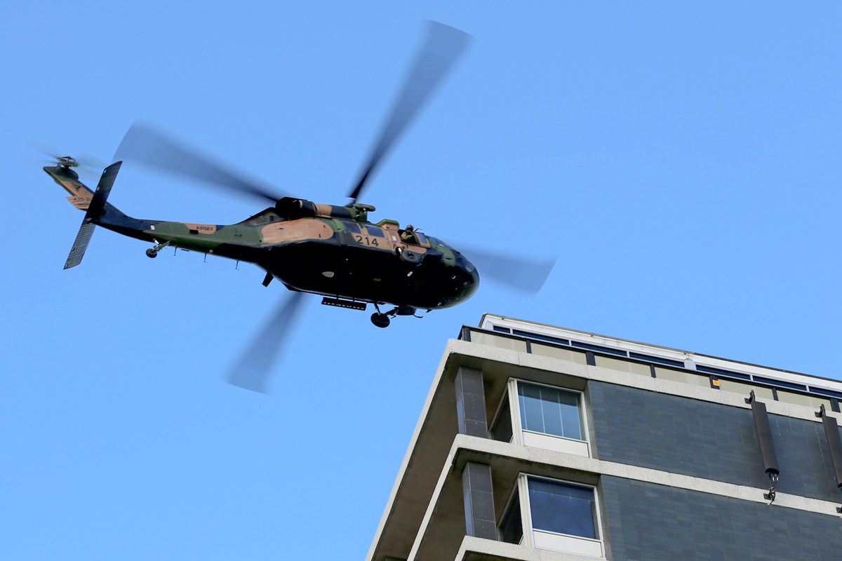 A25-214 Sikorsky S-70A-9 Blackhawk (MSN 70-1382) named 'Tempest', of 171st Aviation Squadron, 6th Aviation Regiment, Australian Army, over Dumas House, West Perth at 3:03pm on Thu 29 May 2014. Photo © Matt Hayes