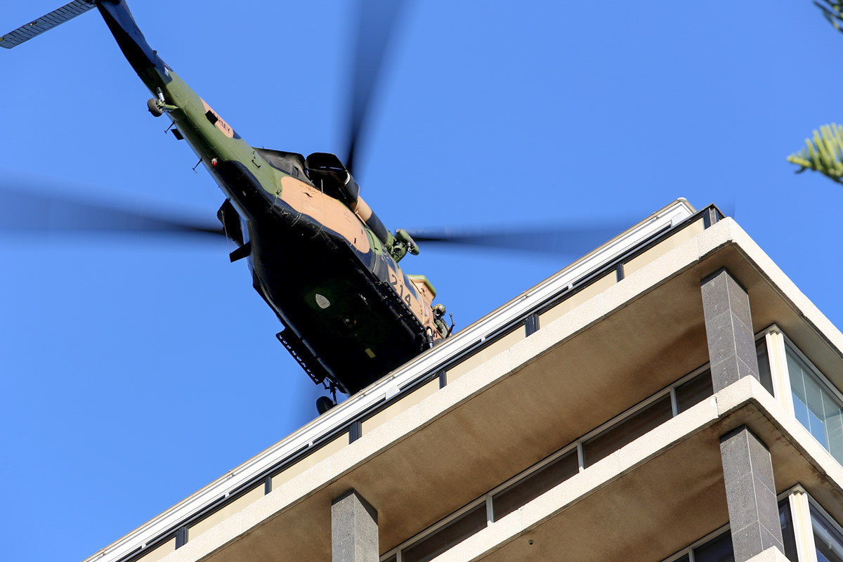 A25-214 Sikorsky S-70A-9 Blackhawk (MSN 70-1382) named 'Tempest', of 171st Aviation Squadron, 6th Aviation Regiment, Australian Army, over Dumas House, West Perth at 3:49pm on Thu 29 May 2014. Photo © Matt Hayes
