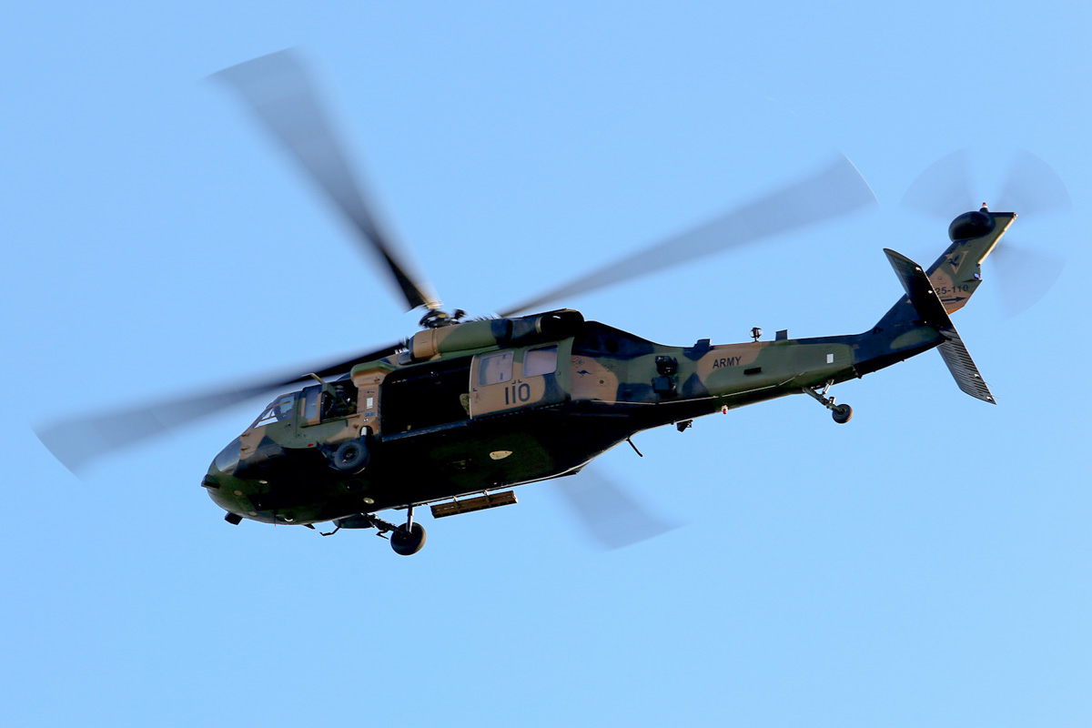 A25-110 Sikorsky S-70A-9 Blackhawk (MSN 70-1146) named 'Apocalypse', of 171st Aviation Squadron, 6th Aviation Regiment, Australian Army, over Dumas House, West Perth at 3:49pm on Thu 29 May 2014. Photo © Matt Hayes