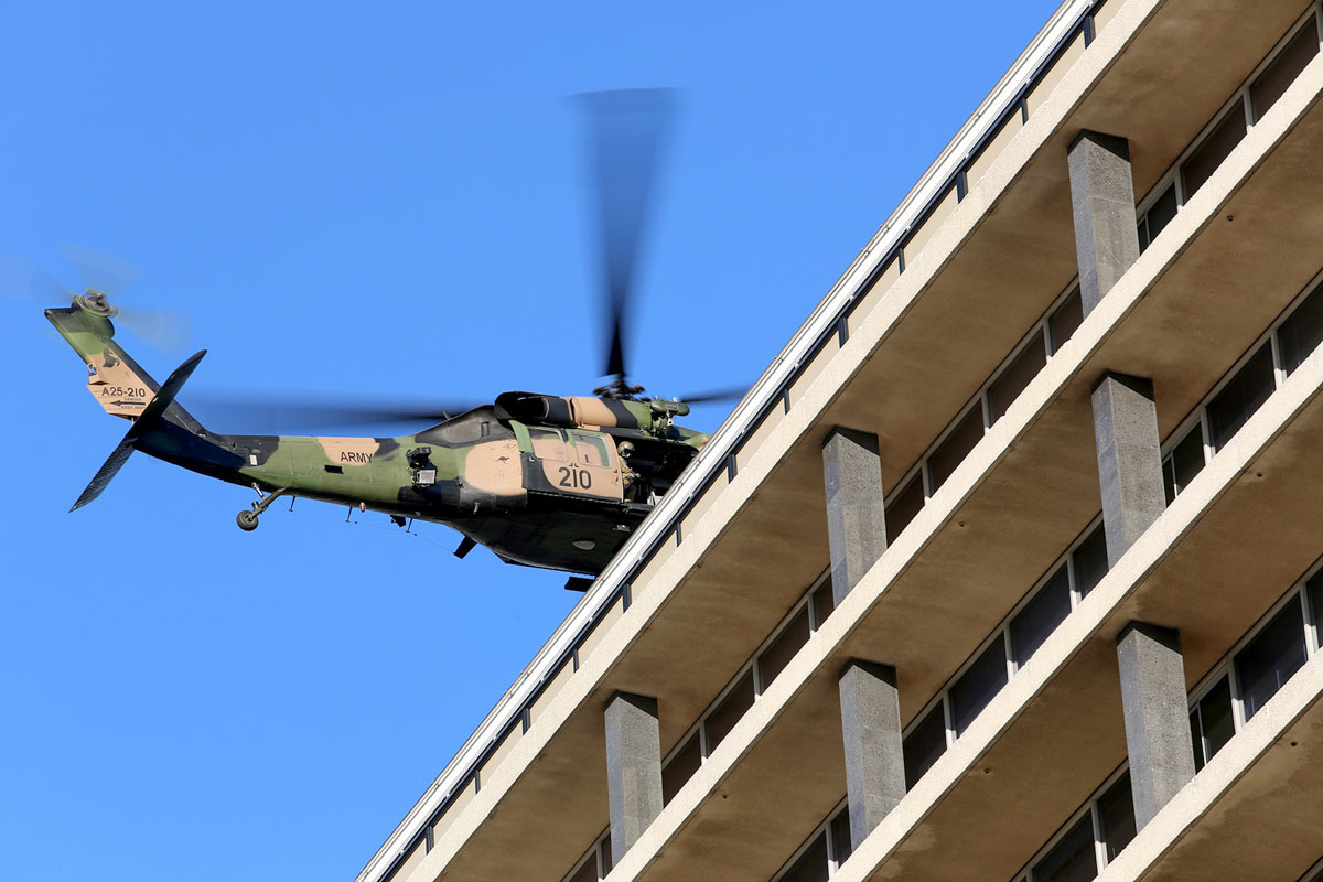 A25-210 Sikorsky S-70A-9 Blackhawk (MSN 70-1348) named 'Dragoon', of 171st Aviation Squadron, 6th Aviation Regiment, Australian Army, over Dumas House, West Perth at 3:49pm on Thu 29 May 2014. Photo © Matt Hayes