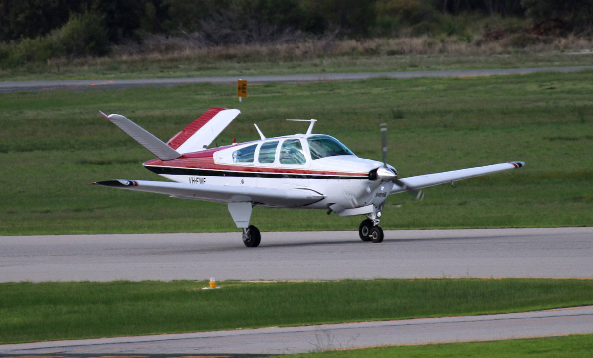 VH-FWF Beech Bonanza V35A Mk. 2 (MSN D-8827) owned by Paul Yates, at Jandakot Airport - Thu 29 May 2014. Photo © Steve Jaksic