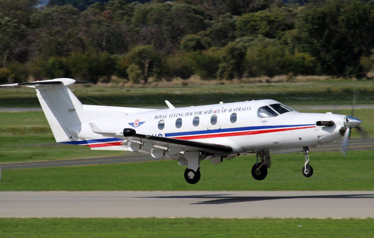 VH-NWO Pilatus PC-12/45 (MSN 396) of the Royal Flying Doctor Service (Western Operations), at Jandakot Airport - Thu 29 May 2014. Photo © Steve Jaksic