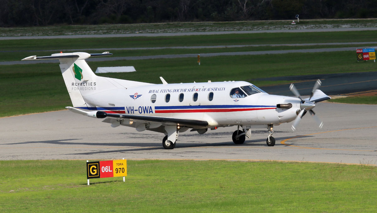 "VH-OWA Pilatus PC-12/47E (MSN 1115) of Royal Flying Doctor Service (Western Operations), with ""Royalties for Regions"" titles, at Jandakot Airport - Thu 29 May 2014. Photo © Steve Jaksic"