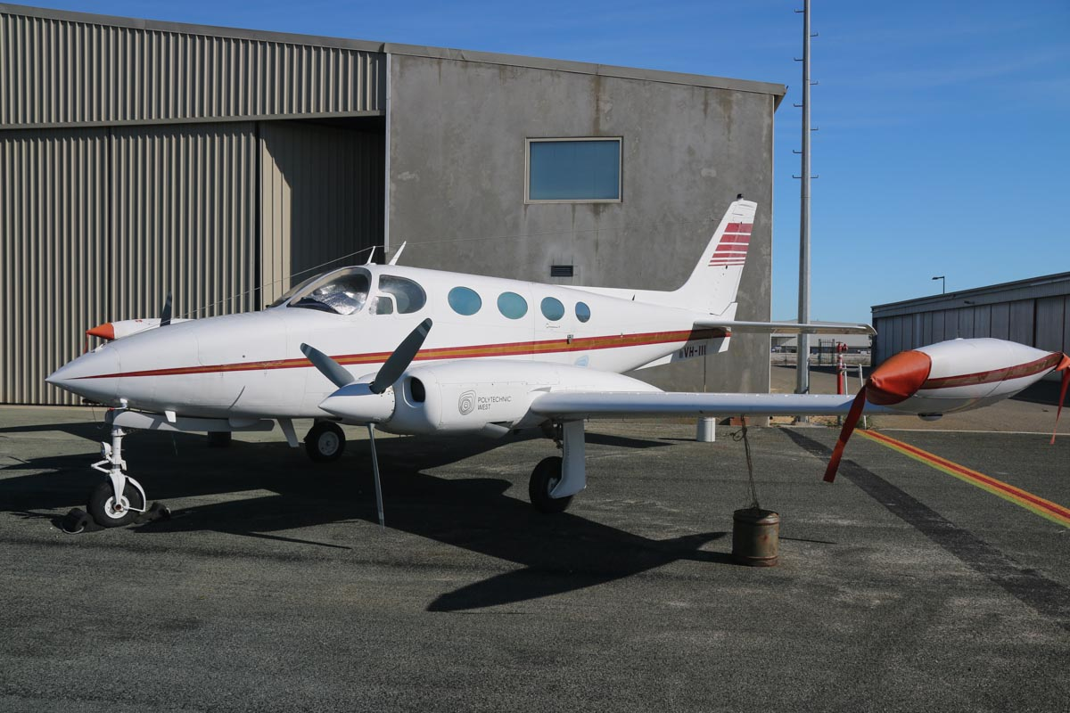 VH-III Cessna 340 (MSN 3400218) owned by Polytechnic West, at Jandakot Airport – Fri 30 May 2014. Photo © David Eyre