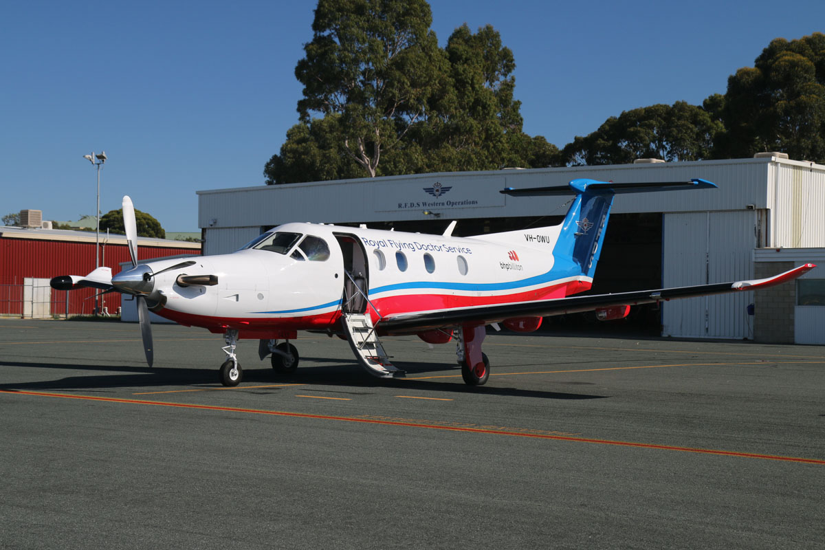 VH-OWU Pilatus PC-12/47E (MSN 1433) of the Royal Flying Doctor Service (Western Operations), at Jandakot Airport - Fri 30 May 2014. Photo © David Eyre