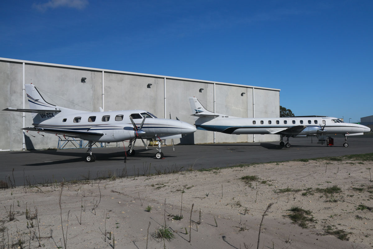 VH-ZGX Swearingen SA227-TT Merlin III (MSN TT-534) & VH-KGX Swearingen SA226TC Metro II (MSN TC-326) of Casair, at Jandakot Airport – Fri 30 May 2014. Photo © David Eyre