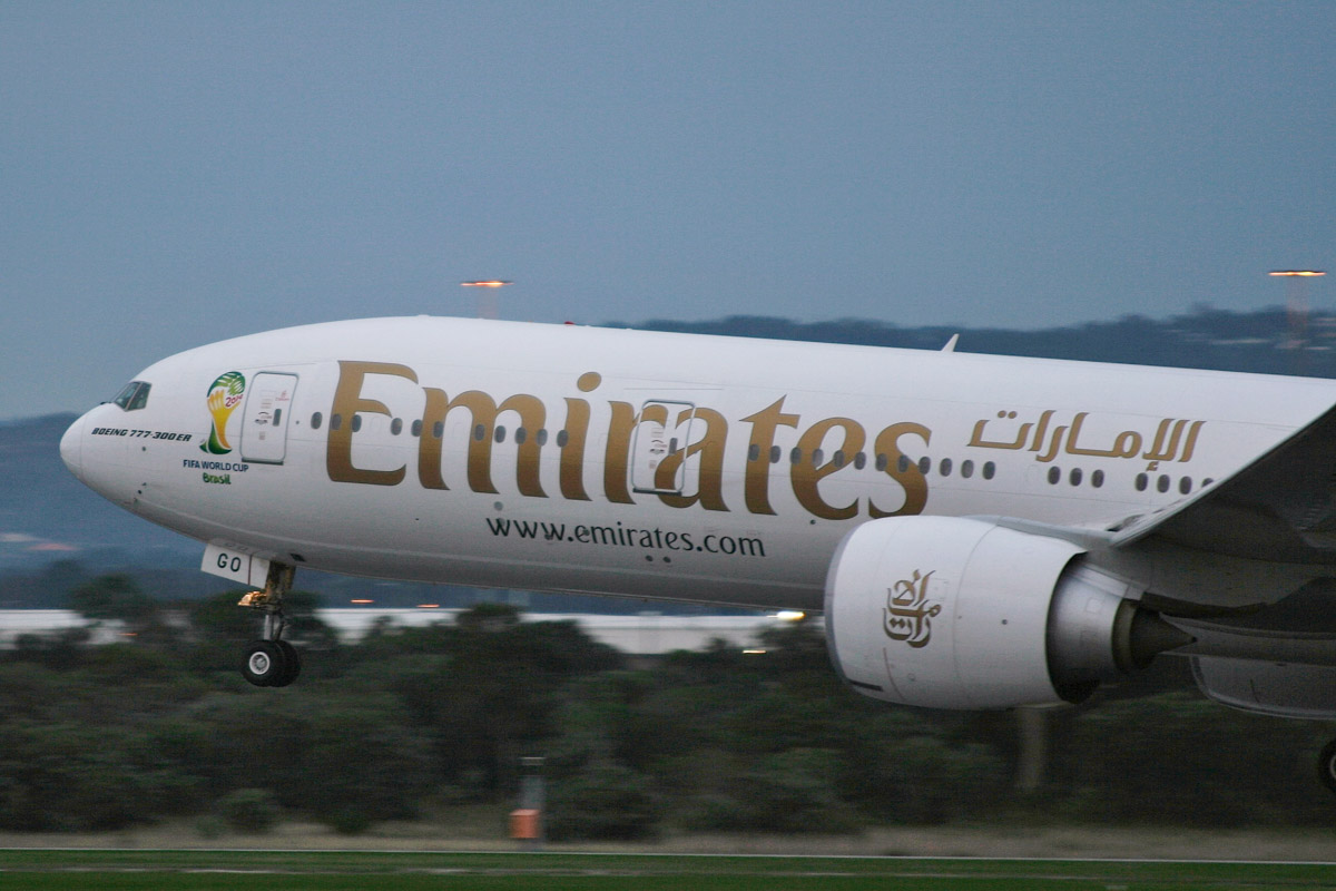 A6-EGO Boeing 777-31H ER (MSN 35598/1000) of Emirates, with '2014 FIFA WORLD CUP Brasil' logo at Perth Airport – Sat 31 May 2014. Photo © Matthew Hannigan