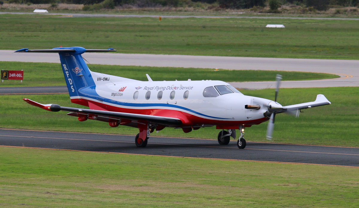 VH-OWJ Pilatus PC-12/47E (MSN 1411) owned by Royal Flying Doctor Service (Western Operations), at Jandakot Airport - Sat 31 May 2014. Photo © Steve Jaksic