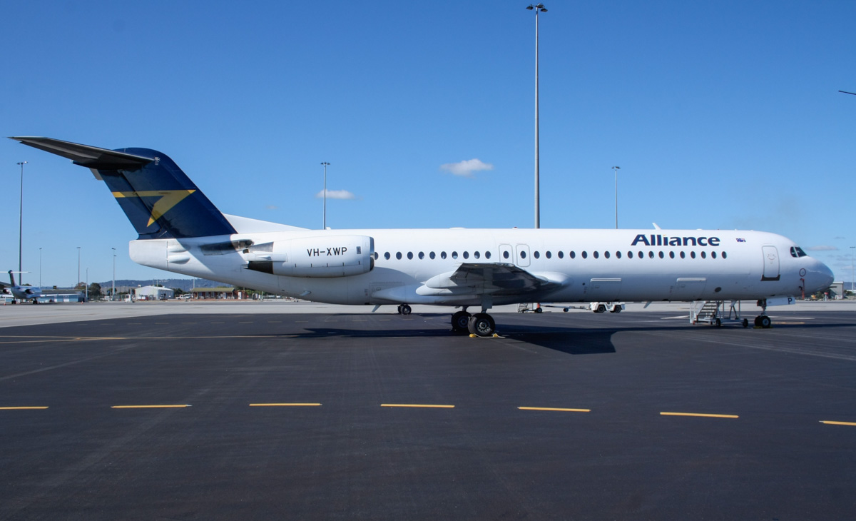VH-XWP Fokker 100 (MSN 11281) of Alliance Airlines, at Perth Airport - Wed 4 June 2014. Photo © Wilson