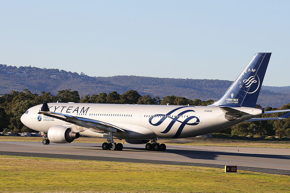 B-6528 Airbus A330-223 (MSN 1202) of China Southern, in SkyTeam livery, at Perth Airport – 6 June 2014