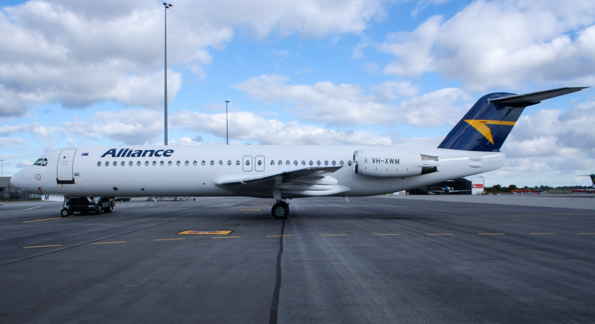 VH-XWM Fokker 100 (MSN 11276) of Alliance Airlines, at Perth Airport - Wed 11 June 2014. Photo © Wilson
