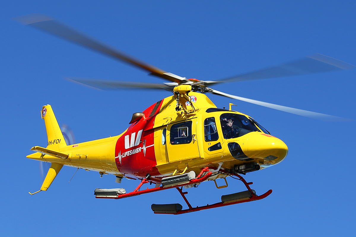 VH-FOI Augusta A119 (MSN 14523) of Surf Life Saving Western Australia at Fremantle Heliport – Sat 14 June 2014
