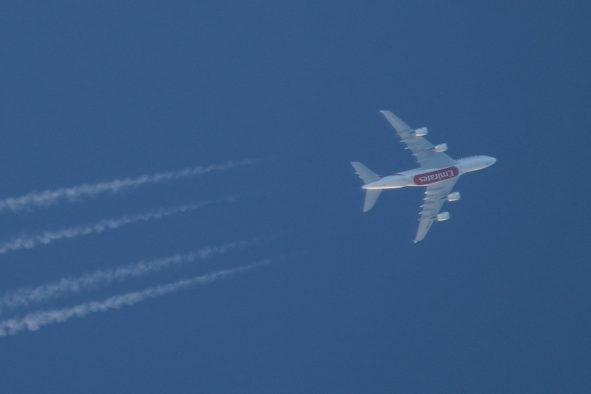 A6-EEU Airbus A380-861 (MSN 147) of Emirates, over the northern suburbs of Perth - Sun 15 June 2014. Photo © David Eyre.