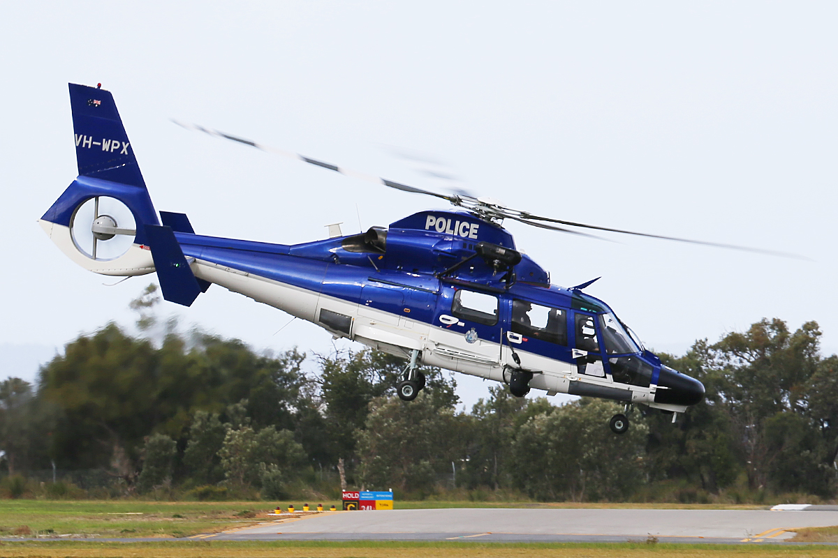 VH-WPX Eurocopter AS365N3+ Dauphin 2 (MSN 6936, ex F-WWOX), call sign 'POLAIR 62′ of WA Police Air Wing at Jandakot Airport – 18 June 2014