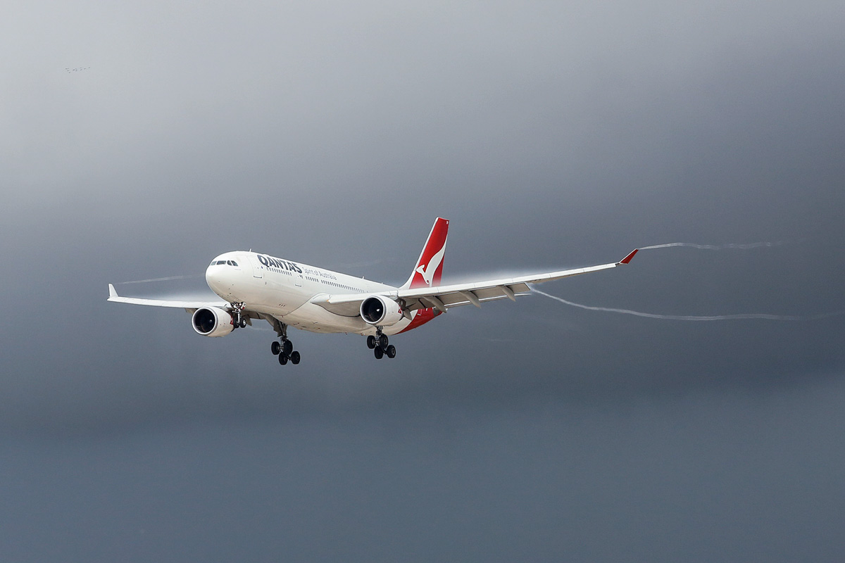 VH-EBP Airbus A330-202 (MSN 1174) of Qantas, named 'Ningaloo Valley', at Perth Airport - 19 June 2014. On final approach to runway 03 at 12:09 as QF589 from Brisbane. Photo © Matt Hayes