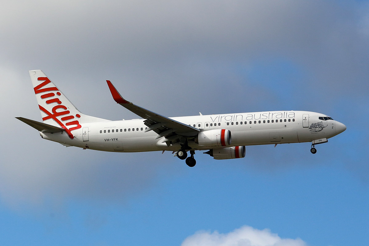 VH-YFK Boeing 737-8FE (MSN 41004/3861) named 'Long Beach' of Virgin Australia, at Perth Airport - 22 June 2014. VA464 from Brisbane, on final approach to runway 21 at 12:46pm. Photo © Matt Hayes