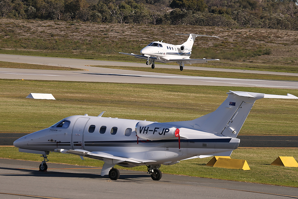VH-LWZ Embraer 500 Phenom 100 (MSN 50000306) of China Southern WA Flying College at Jandakot Airport – 25 June 2014