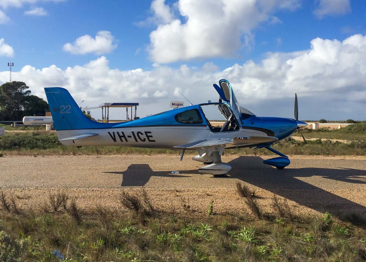 VH-ICE Cirrus SR22 GTS (MSN 4063) owned by Andrew Dean, at Nullarbor Roadhouse, South Australia - 13 June 2014. This Jandakot-based Cirrus is brand new (built in 2014), and seen here on returning from Sydney to Jandakot. Photo © Corrie Watts