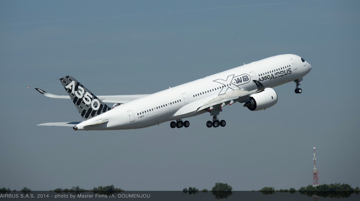 F-WWYB Airbus A350-941 (MSN 005), the fifth of the Airbus development aircraft, taking off on its first flight at Toulouse, France, on 20 June 2014.  This is the aircraft which will visit Perth on 9/10 August 2014 as part of route proving flights leading to EASA certification later this year.  Photo copyright Airbus SAS/Master Films/A Doumenjou.
