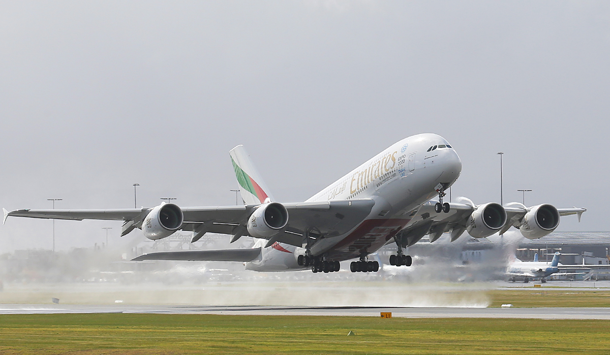 A6-EEU Airbus A-380-861 (MSN 147) Of Emirates at Perth Airport – 2 July 2014