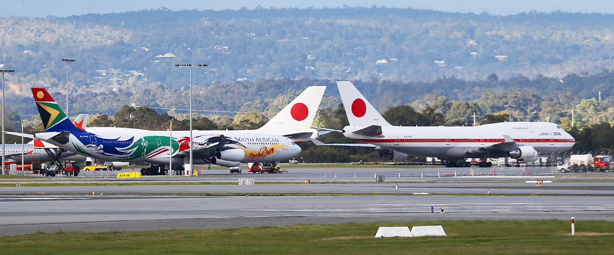20-1101 Boeing 747-47C (MSN 24730) and 20-1102 Boeing 747-47C (MSN 24731) of Japan Air Self Defence Force at Perth Airport – 9 July 2014
