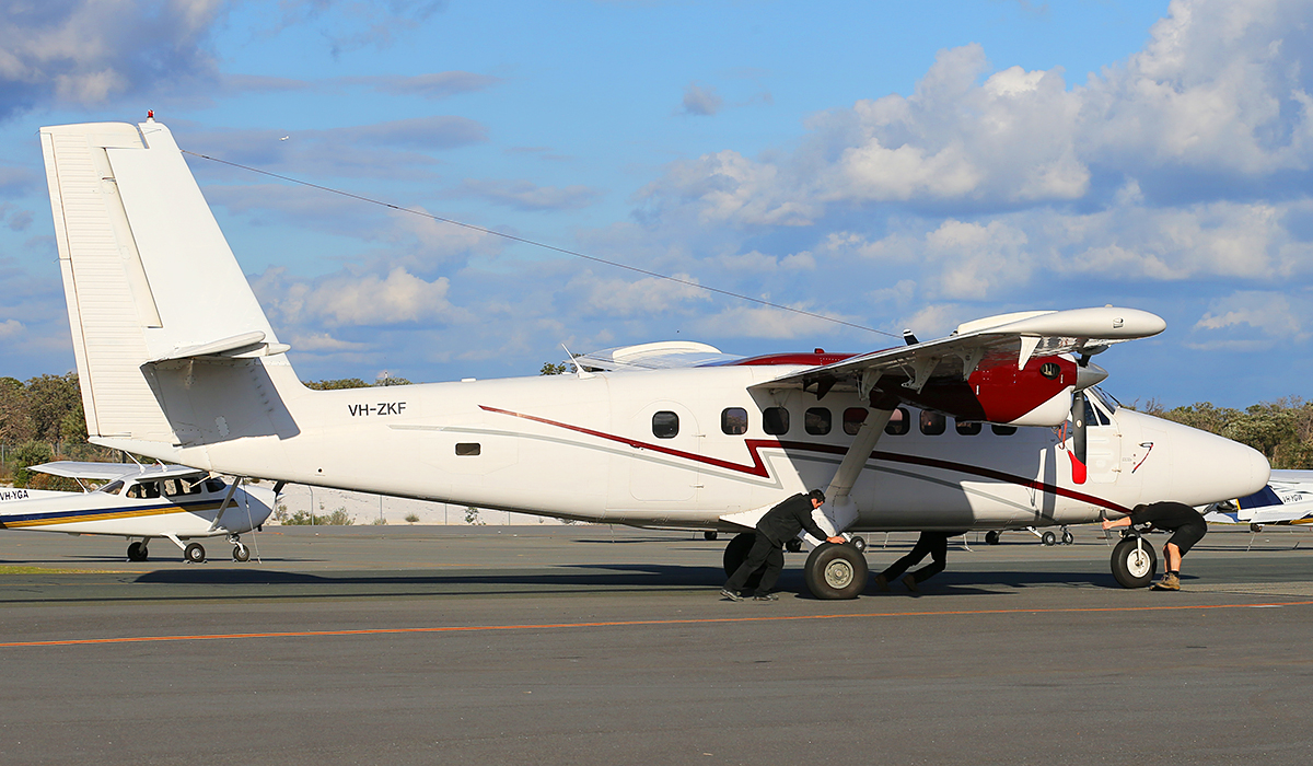 VH-ZKF De Havilland Canada DHC-6 series 100 Twin Otter of Karratha Flying School at Jandakot Airport – 11 July 2014