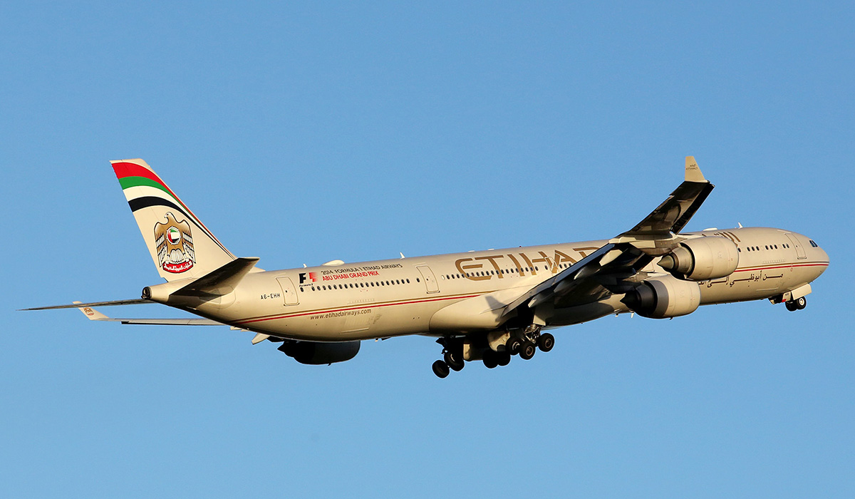 A6-EHH Airbus A340-642X (MSN 870) of Etihad Airways at Perth Airport – Wed 16 July 2014