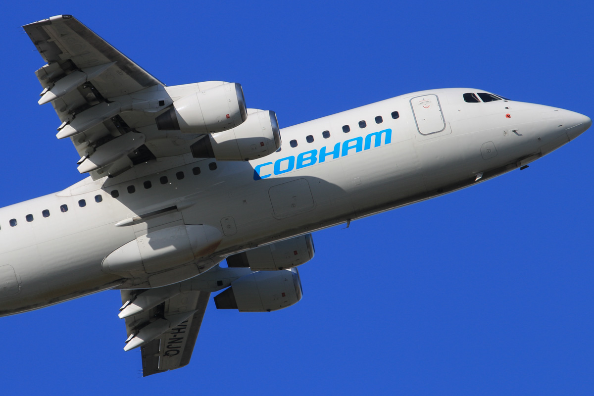 VH-NJQ British Aerospace Avro RJ100 (MSN E3328) of Cobham Aviation, at Perth Airport - Wed 16 July 2014. 'JETEX 2010' to Barrow Island, taking off from runway 21 at 15:10 with workers for Chevron's Gorgon LNG project. Photo © David Eyre
