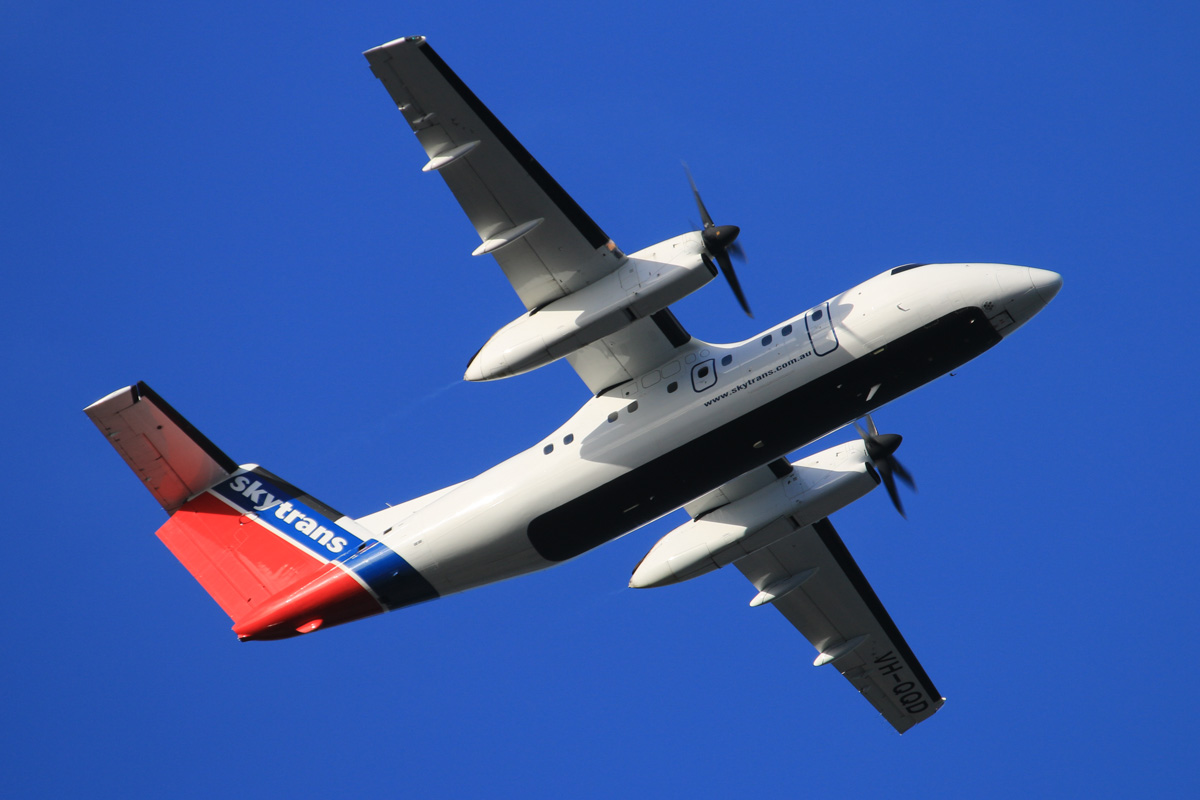 VH-QQD De Havilland Canada DHC-8-102 Dash 8 (MSN245) of Skytrans Pty Ltd, leased to Maroomba Airlines, at Perth Airport - Wed 16 July 2014. Taking off from runway 21 at 15:52 on a flight to Golden Grove mine. Photo © David Eyre