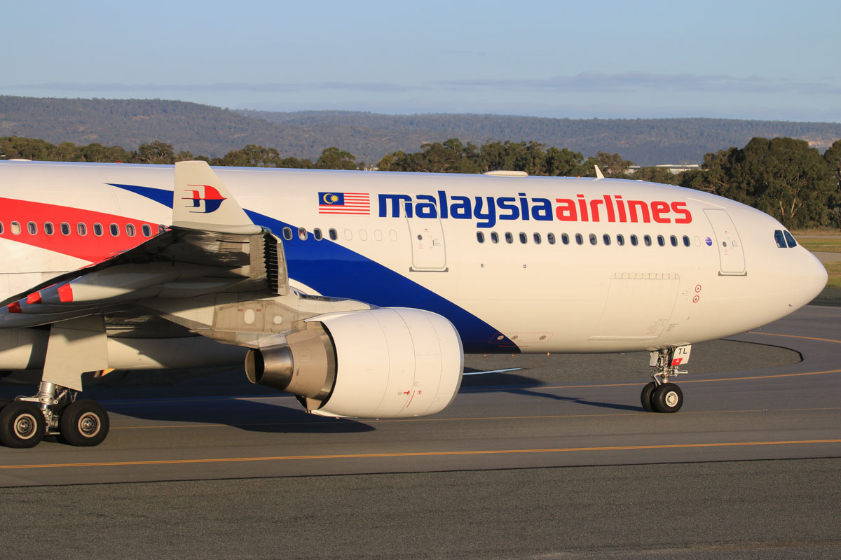 9M-MTL Airbus A330-323X (MSN 1395) of Malaysia Airlines, at Perth Airport - Thu 17 July 2014. Taxying to runway 03 at 16:47 for departure as MH124 to Kuala Lumpur. Photo © David Eyre