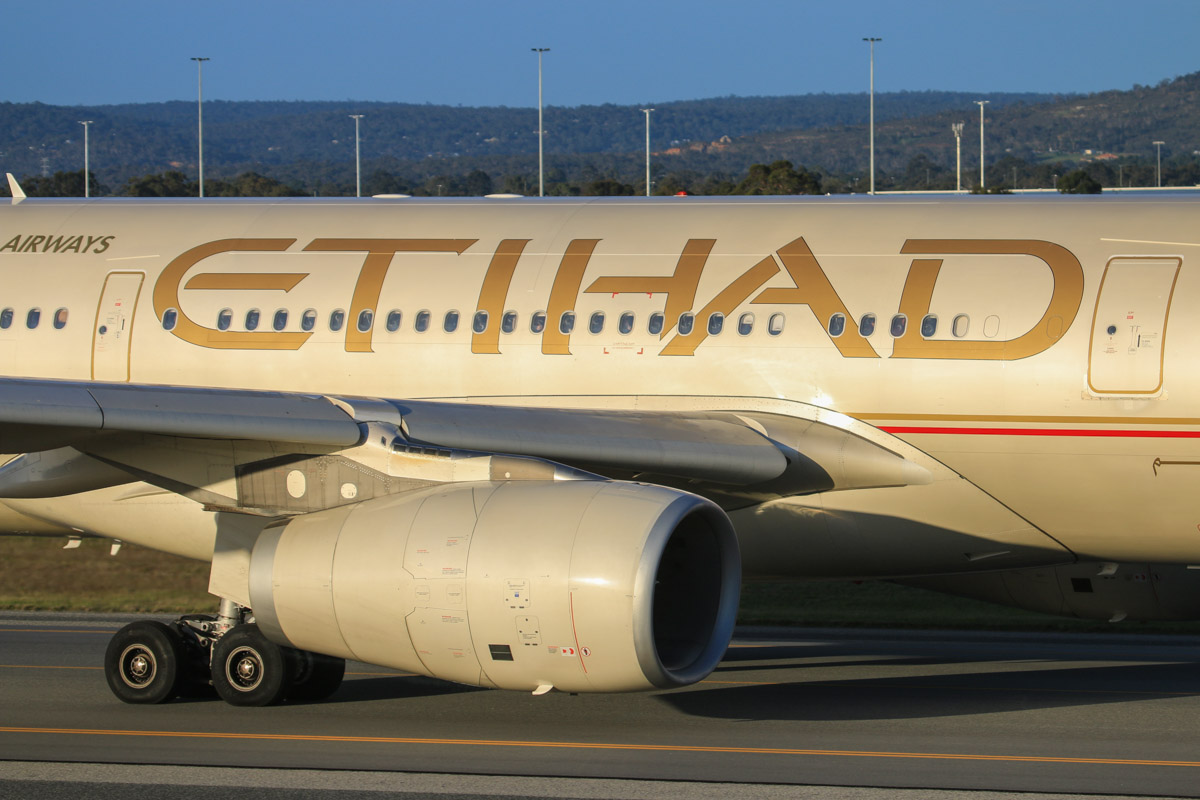 A6-EYI Airbus A330-243 (MSN 730) of Etihad Airways, at Perth Airport - Thu 17 July 2014. Taxying to runway 03 at 16:41 for departure as EY487 to Abu Dhabi. This was the first Etihad A330 service from Perth – the initial Etihad service the previous day was operated by an A340-600. Photo © David Eyre
