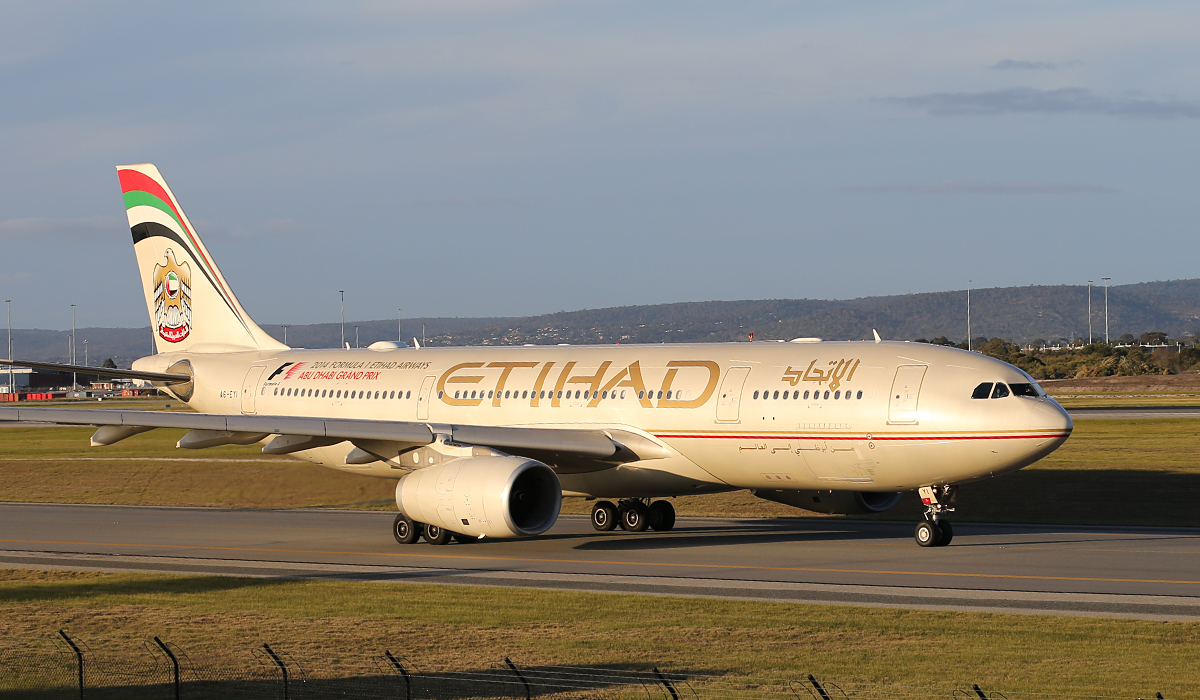 A6-EYI Airbus A330-243 (MSN 730) of Etihad Airways at Perth Airport – Thurs 17 July 2014