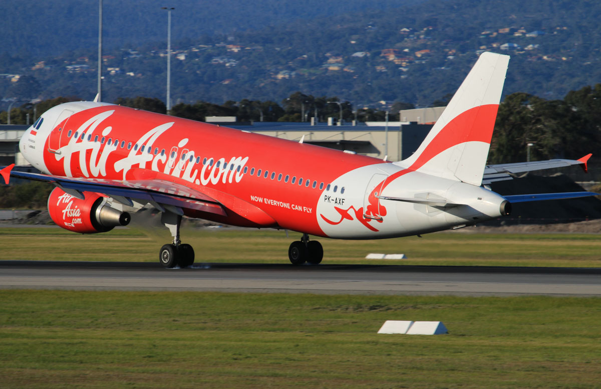 PK-AXF Airbus A320-216 (MSN 3765) of Indonesia AirAsia, at Perth Airport - Thu 17 July 2014. Landing on runway 03 at 16:00 as QZ8414 from Denpasar (Bali). Photo © David Eyre