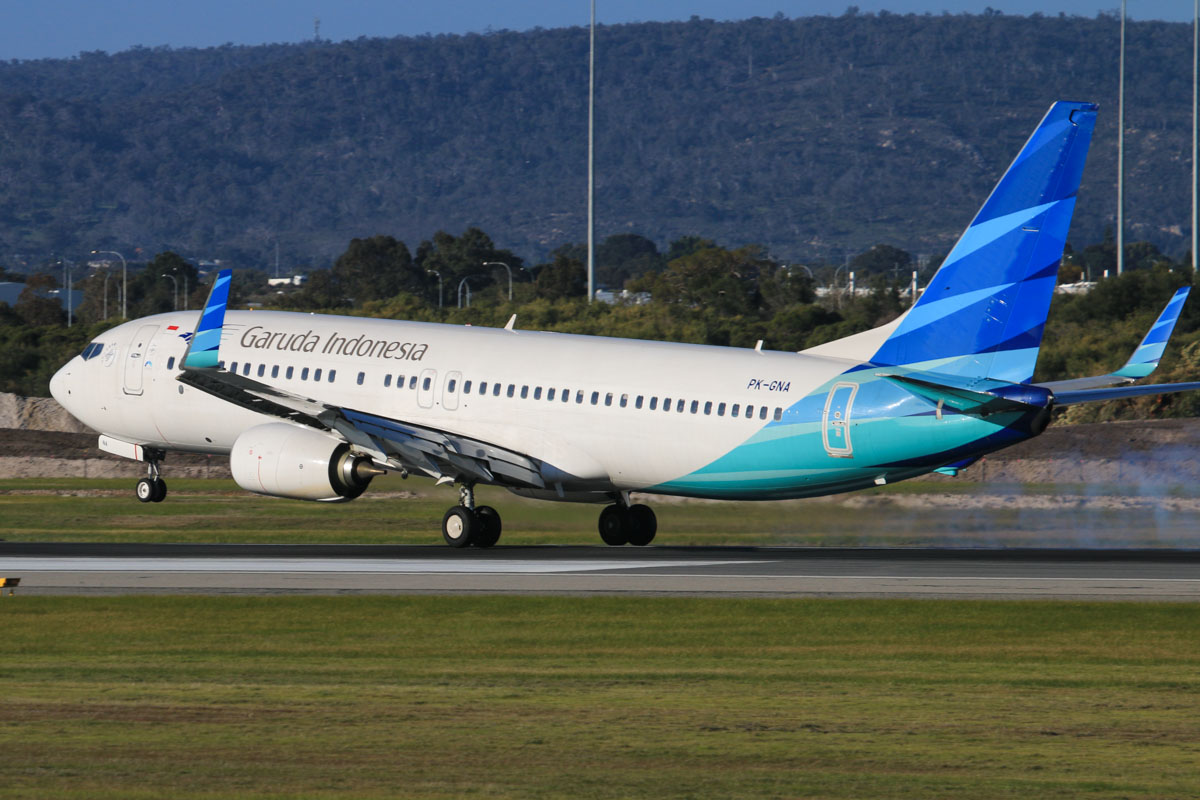 PK-GNA Boeing 737-8U3 (MSN 41310/4692) of Garuda Indonesia, at Perth Airport - Thu 17 July 2014. Landing on runway 03 at 15:47 as GA724 from Jakarta. Photo © David Eyre