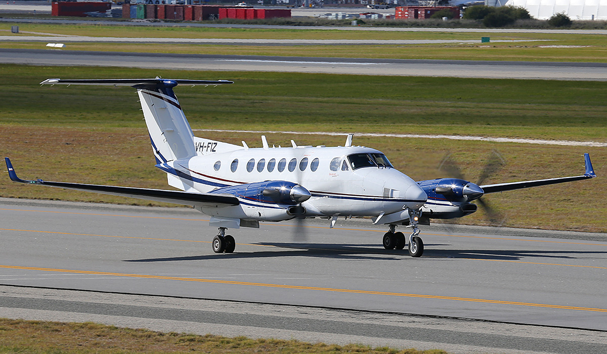 VH-FIZ Beech King Air B300 (350i) (cn FL-779) of AeroPearl (Pearl Aviation Australia), operated for Airservices Australia, at Perth Airport – Thurs 17 July 2014