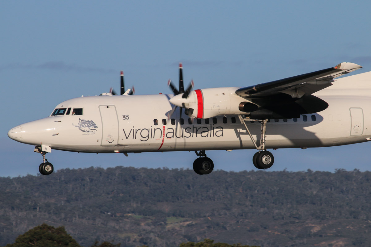 VH-FNA Fokker 50 (MSN 20106) of Virgin Australia Regional Airlines, named 'Rockingham Beach', at Perth Airport - Thu 17 July 2014. Landing on runway 03 at 16:14, arriving from Esperance. Photo © David Eyre